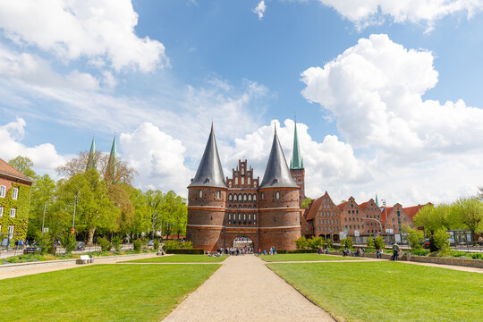 Gate Holstentor in Lübeck, Germany on a sunny summer day