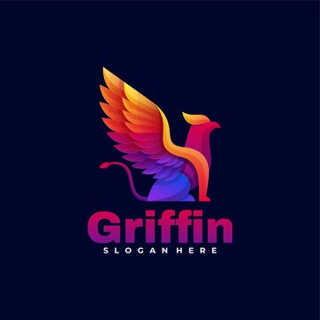 Vector Logo Illustration Griffin Gradient Colorful Style.