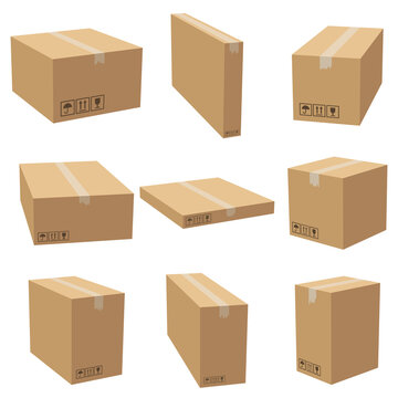 Set of cardboard box mockups different size. Isolated on white background. Vector carton packaging box images.