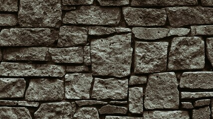 Stone wall texture. Rough rock masonry abstract retro background