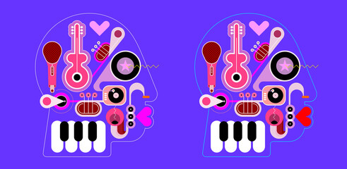 Two options of a Human head shape design consisting with a different musical instruments vector illustration. A music playing inside a head.
