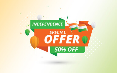 15th Indian Independence Day Big Sale Banner Design Template with 50% Discount Tag