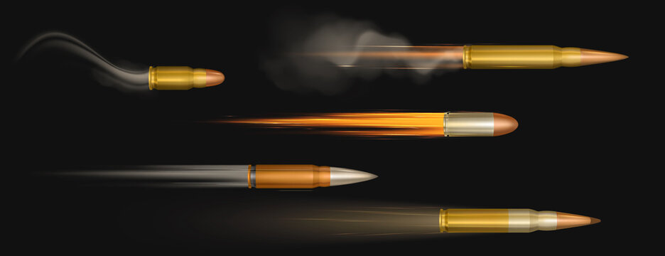 Flying bullets with fire and smoke traces. Shooting military handgun shoot trails, gunshots in motion, weapon metal shots, ammo isolated on black background, realistic 3d vector set