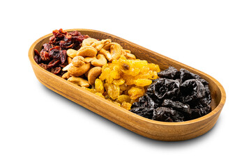 Fototapete - Various dried fruit in a wooden tray on white background with clipping path.