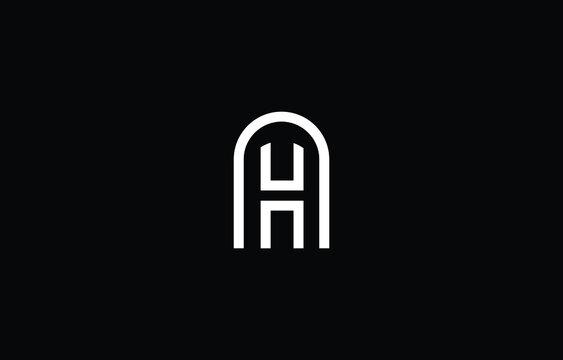 AH HA logo design concept with background. Initial based creative minimal monogram icon letter. Modern luxury alphabet vector design
