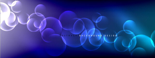 Vector abstract background liquid bubble circles on fluid gradient with shadows and light effects. Shiny design templates for text Wall mural