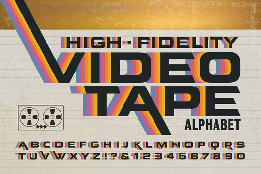 A Retro Alphabet with 1980s Style Rainbow Effects. High-Fidelity Videotape Packaging Font with Colorful Stripes on a Video Cassette Box.