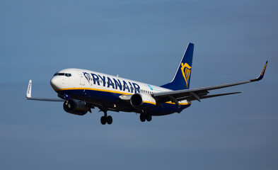 EL PRAT DE LLOBREGAT, SPAIN - JANUARY 26, 2020: Aircraft Boeing 737 of Irish budget airline Ryanair with registration EI-DYM landing in International El Prat Airport in Barcelona