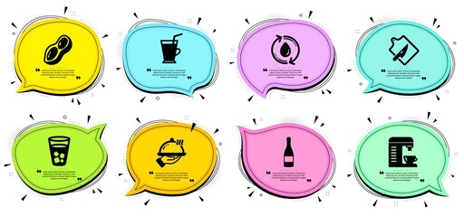 Peanut, Ice tea and Cutting board signs. Chat bubbles with quotes. Coffee machine, Coffee cup and Refill water line icons set. Champagne bottle, Restaurant food symbols. Vector