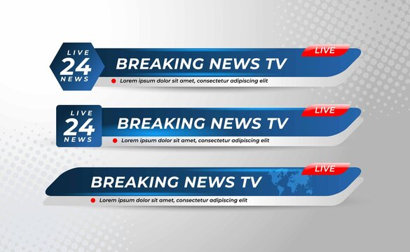 Set Of Broadcast News Lower Thirds Banner Template with Simple Concept  for Television, Media Channel, Video. Vector Illustration
