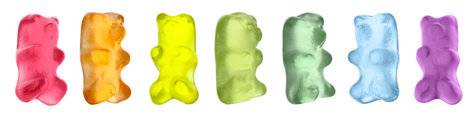 Set with delicious jelly bears on white background. Banner design