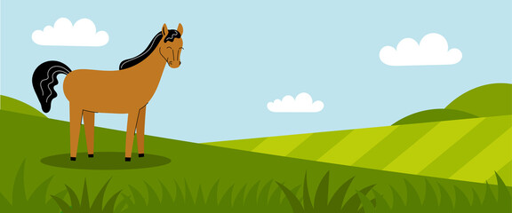 A cute brown horse stands on a green meadow. Farm animals. Summer panorama with a field. Place for your text. Flat cartoon color illustration