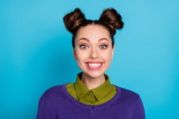 Closeup photo of attractive crazy lady two funny buns demonstrating white teeth wide smile students...