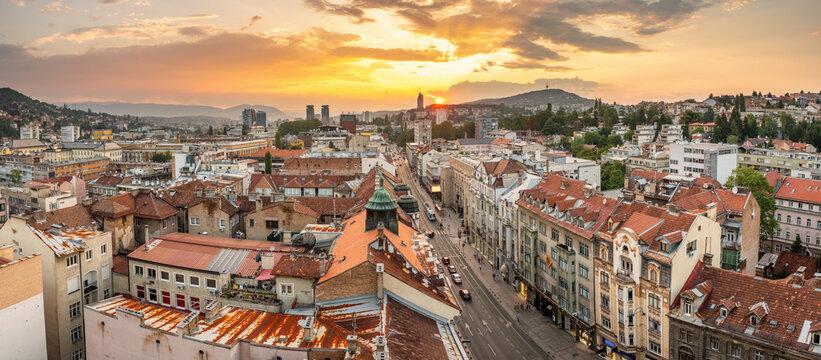 Panorama cityscape of Sarajevo city center at sunset, BiH