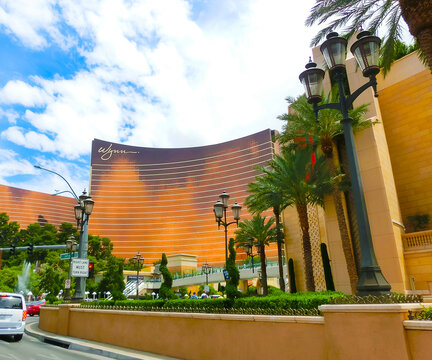 Las Vegas, USA - May 05, 2016: The view of Strip hotel resorts and casinos