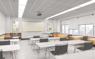 Fototapeta Modern classroom with white floor. High school. 3d illustration obraz