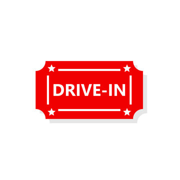 Drive-in ticket icon. Clipart image isolated on white background