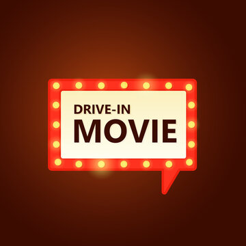 Drive-in movie marquee speech bubble icon. Clipart illustration
