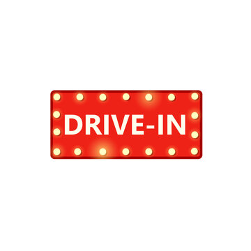 Drive-in marquee sign. Clipart image isolated on white background