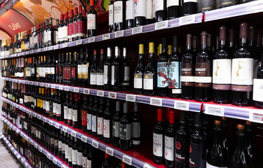 BARCELONA, SPAIN - NOVEMBER 7, 2019: Bottles of wine on supermarket shelves