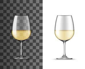 White wine glass cup, realistic isolated mockup, alcohol drinks glassware vector 3D. Wineglass on short leg for sweet and dessert white wine, drinks crockery on transparent background