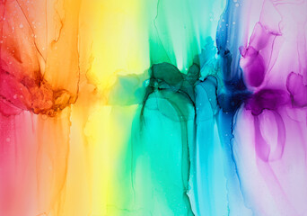 Abstract rainbow colorful background, wallpaper. Mixing acrylic paints. Modern art. Alcohol ink...