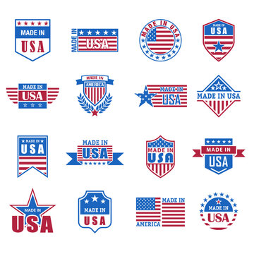 Set of made in USA icon with flag and stars