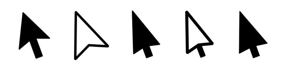 Computer mouse pointer cursor arrow flat icon for apps and websites. Set of Hand Cursor .
