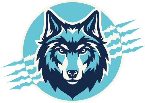 Head of Wolf With Claws Background Vector Design