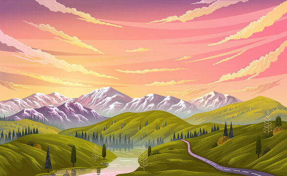 Landscape nature background with mountains, clear sky and clouds, the river flows along the winding road. Beautifu landscape with mountain river descends from peaks and flows through a rocky valley