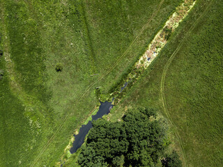 Aerial View. Green Forest, Meadow And River.  Summer landscape