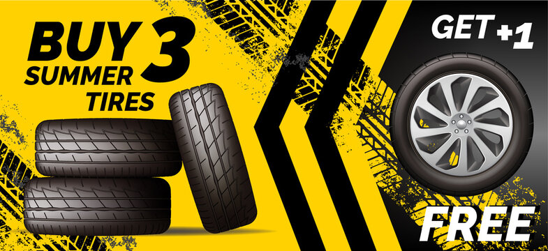 Car tires shop banner with discount offer, yellow background. Brochure template with automobile wheels sale ad, vector illustration