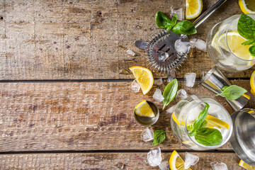 Boozy lemon basil lemonade