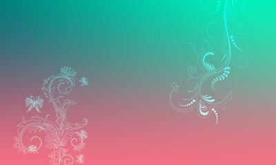 Hintergrund pink grün türkis Ornament floral pastell Ranken Design Layout Vorlage Untergrund leuchten schimmern hell Frühling Sommer Symbol Blumen Flora zeitlos schön elegant Schmetterlinge