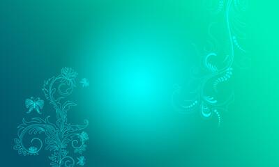Hintergrund grün blau türkis Ornament floral Mitte hell pastell Ranken Design Layout Vorlage Untergrund leuchten schimmern hell Frühling Sommer Symbol Blumen Flora zeitlos schön elegant Schmetterlinge