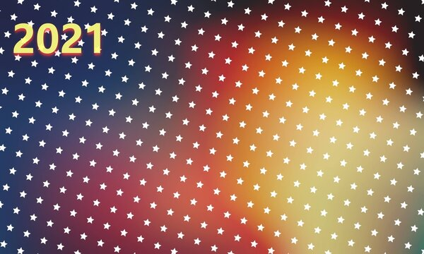 Bright colorful background with rows of white stars and yellow numbers forming 2021