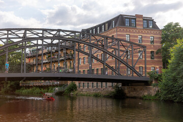 The Koenneritz Bridge in Leipzig photographed from the river Weisse Elster. Saxony. Germany