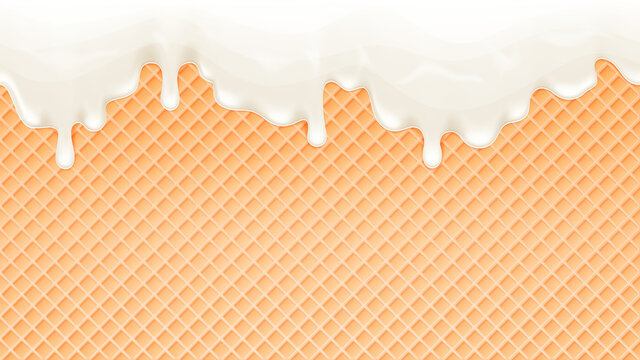 Dripping melting ice cream and wafer background. Vector illustration.