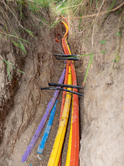 New underground cable lines of optical networks.