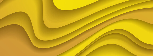 Wall Mural - Orange paper waves abstract banner design. Elegant wavy vector background