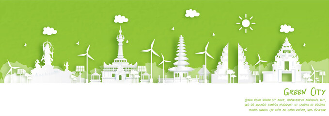 Fototapete - Green city of Denpasar, Bali. Indonesia Environment and ecology concept in paper cut style. Vector illustration.