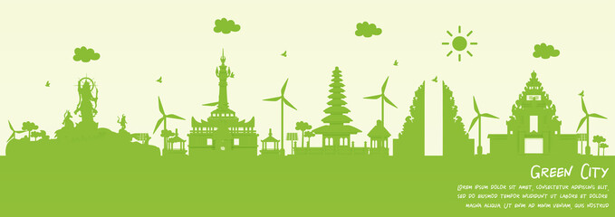 Fototapete - Green city of Denpasar, Bali. Indonesia environment and ecology concept. Vector illustration.