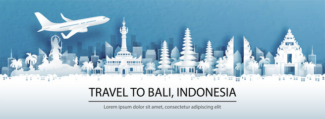 Fototapete - Travel advertising with travel to Denpasar, Bali. Indonesia concept with panorama view of city skyline and world famous landmarks in paper cut style vector illustration.