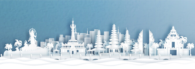 Fototapete - Panorama view of Denpasar, Bali Indonesia skyline with world famous landmarks of Indonesia in paper cut style vector illustration.