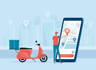 business online delivery concept with delivery man and mobile online map navigation application. Location tracker. Route navigator. City map infographic. And design for banner social post