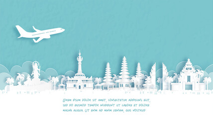 Fototapete - Travel poster with Welcome to Denpasar, Bali, Indonesia famous landmark in paper cut style vector illustration.