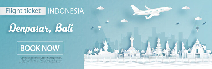 Fototapete - Flight and ticket advertising template with travel to Denpasar, Bali Indonesia concept and famous landmarks in paper cut style vector illustration