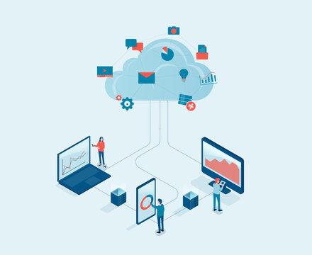 Flat vector business technology cloud computing server service concept with developer team working concept