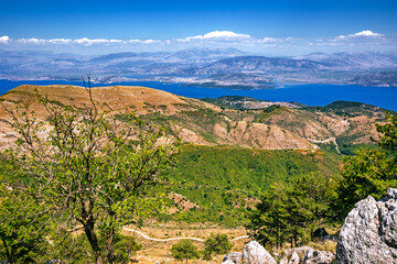 Panoramic view of the Corfu island from the highest peak of the Pantokrator mountain looking east towards Albania, Greece