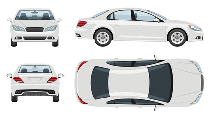 White car vector template with simple colors without gradients and effects. View from side, front, back, and top